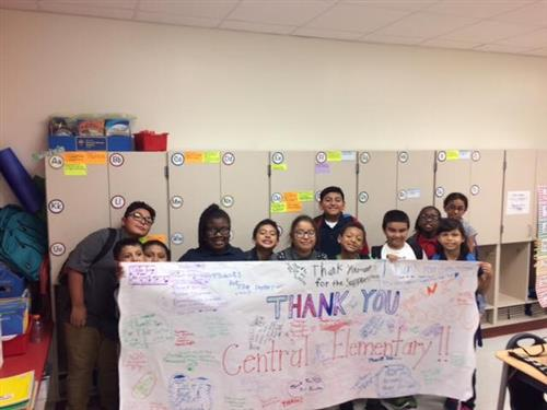Sherman Elementary Students with thank you banner