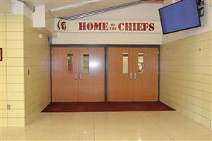 New entrance doors at the HS gym