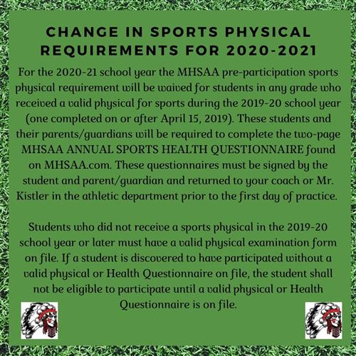 Changes to Sports Physical Requirements for the 2020-2021 School Year
